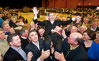 Eamon  O Cuiv  Fianna Fail elected on the eight count in Galway West at Leisureland, Salthill, Galway. Photo:Andrew Downes