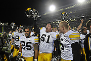 Oct 24, 2009; East Lansing, MI, USA; The team celebrates at Spartan Stadium. The Hawkeyes beat the Spartans 15-13. Mandatory Credit: Jason Miller-US PRESSWIRE