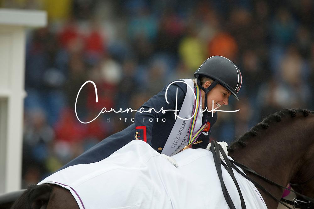 Podium Kür, Dujardin Charlotte, (GBR)<br /> Grand Prix Kur<br /> European Championships - Aachen 2015<br /> © Hippo Foto - Dirk Caremans<br /> 16/08/15