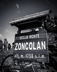 31.05.2014, Monte Zoncolan, ITA, Giro d Italia 2014, 20. Etappe, Mantiago nach Monte Zoncolan, im Bild ein Tafel mit der Aufschrift Monte Zoncolan // a sign on Monte Zoncolan at Stage 20 from Mantiago to Monte Zoncolan, Italy on 2014/05/31. EXPA Pictures © 2014, PhotoCredit: EXPA/ M. Huber