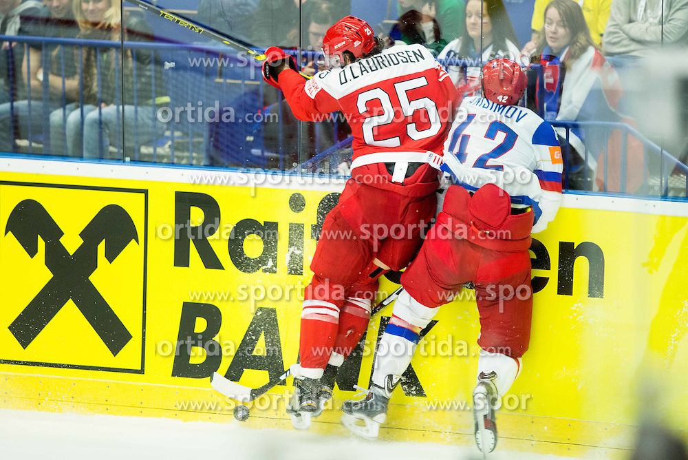 Oliver Lauridsen of Denmark vs Artyom Anisimov of Russia during Ice Hockey match between Russia and Denmark at Day 6 in Group B of 2015 IIHF World Championship, on May 6, 2015 in CEZ Arena, Ostrava, Czech Republic. Photo by Vid Ponikvar / Sportida