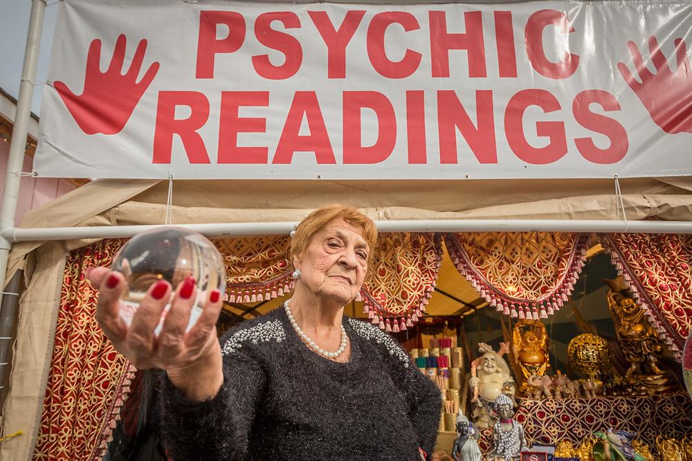 Lifetime Psychic Reader, Anna Adams, performs daily at the Alaska State Fair in Palmer, Alaska