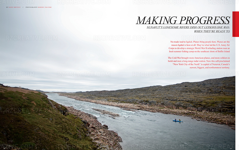 Editorial feature on paddling on the Sylvia Grinnell River in the Nunavut capital city of Iqaluit.