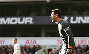 Tottenham Hotspur goalkeeper Hug Lloris shouting instructions during the Barclays Premier League match between Tottenham Hotspur and Sunderland at White Hart Lane, London, England on 16 January 2016. Photo by Matthew Redman.