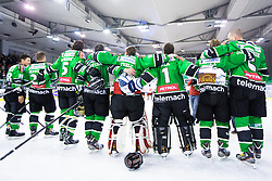 Players of Olimpija at medal ceremony during ice hockey game between HDD Telemach Olimpija and Team Jesenice in 2nd leg of Finals of Slovenian National Championship 2014, on April 3, 2014 in Hala Tivoli, Ljubljana, Slovenia. Photo by Matic Klansek Velej / Sportida
