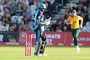 Callum Ferguson of Worcestershire Rapids is bowled by Jake Ball of Nottinghamshire Outlawsduring the Vitality T20 Blast North Group match between Nottinghamshire County Cricket Club and Worcestershire County Cricket Club at Trent Bridge, West Bridgford, United Kingdon on 18 July 2019.