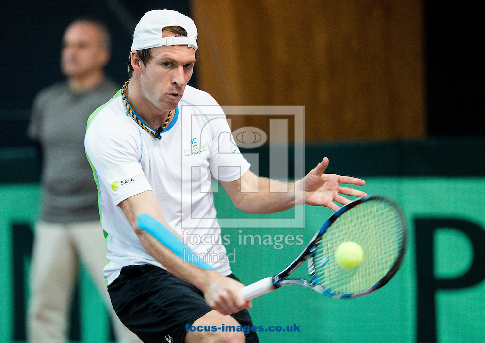 Grega Zemlja of Slovenia during the first round Davis Cup match between Solvenia and Monaco  at Tennis Arena Tabor, Maribor, Slovenia.<br /> Picture by EXPA Pictures/Focus Images Ltd 07814482222<br /> 05/02/2017<br /> *** UK &amp; IRELAND ONLY ***<br /> <br /> EXPA-SLO-170205-0072.jpg