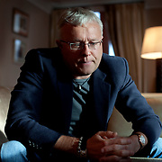 Russian oligarch Alexander Lebedev at home in Moscow. Lebedev is a part-owner of the independent Novaya Gazeta news publication, which employs some of Russia's most courageous journalists including slain reporter Anna Politkovskaya. Lebedev also owns London's Evening Standard newspaper and is in negotiation to buy the Independent of London.
