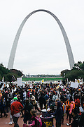 Thousands march past the Gateway Arch in St. Louis during a national march on October 11th, 2014.