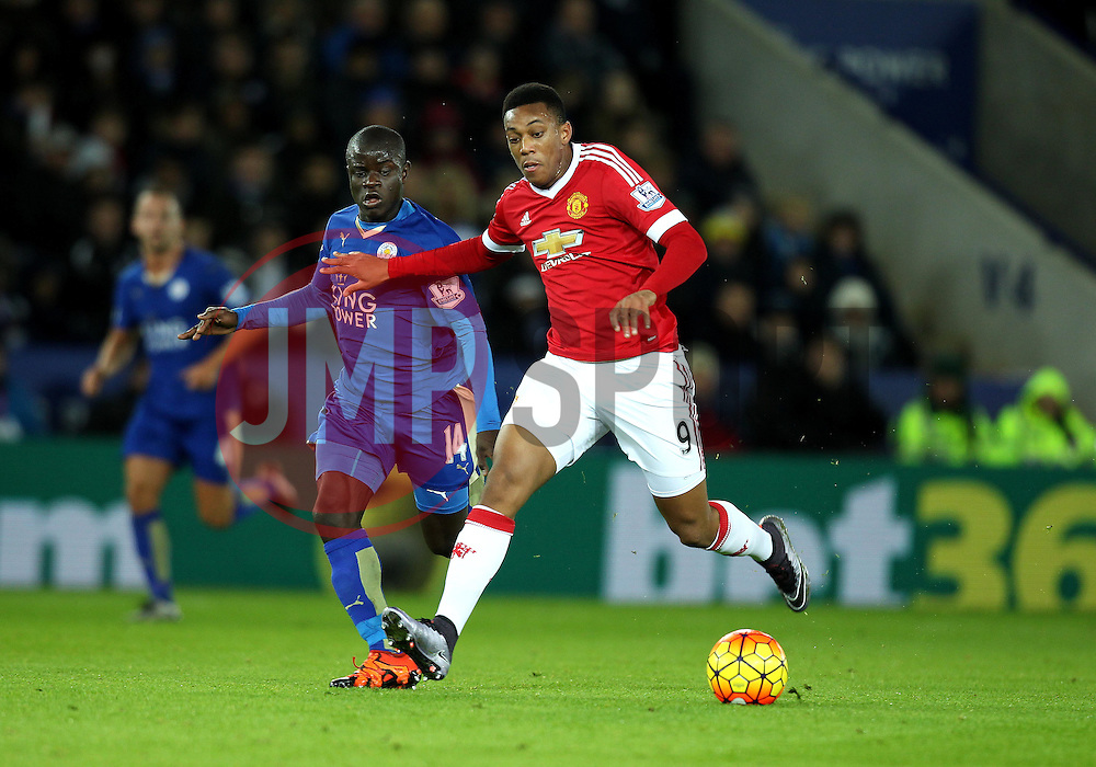 Anthony Martial of Manchester United gets past Ngolo Kante of Leicester City - Mandatory byline: Robbie Stephenson/JMP - 28/11/2015 - Football - King Power Stadium - Leicester, England - Leicester City v Manchester United - Barclays Premier League