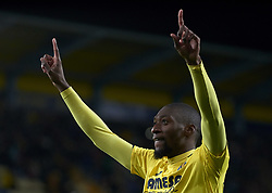December 13, 2018 - Villareal, Castellon, Spain - Ekambi of Villarreal celebrates after scoring his sides first goal during the Group G match of the UEFA Europa League between Villarreal CF and Spartak Moskva at La Ceramica Stadium Villarreal, Spain on December 13, 2018. (Credit Image: © Jose Breton/NurPhoto via ZUMA Press)