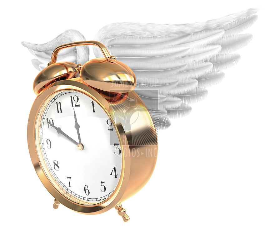 A Vintage brass alarm clock with feathered wings and bells on top