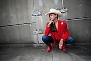 Fashion model cowgirl in urban setting
