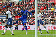 Leicester City midfielder Demarai Gray (7) heads at goal  during the Premier League match between Tottenham Hotspur and Leicester City at Wembley Stadium, London, England on 10 February 2019.