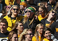 September 22 2012: Iowa Hawkeyes fans sing during the first half of the NCAA football game between the Central Michigan Chippewas and the Iowa Hawkeyes at Kinnick Stadium in Iowa City, Iowa on Saturday September 22, 2012. Central Michigan defeated Iowa 32-31.