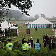 Reclaim the Power camp is set up in a field near Balcombe. The site is squatted but so far nor the owner nor police has made any moves to stop the camp from setting up. It is organised by the environmental group No Dash for Gas and the movement is protesting against the company Cuadrilla's fracking testing near Balcombe and have come to Balcombe to lend its support to the local protests against the drilling for gas.