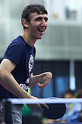 Habib Taghiyev SO Azerbaijan athlete plays table tennis  during third day of the Special Olympics World Games Los Angeles 2015 on July 27, 2015 at South Hall on Los Angeles Convention Centre in  Los Angeles, USA.<br /> USA, Los Angeles, July 27, 2015<br /> <br /> Picture also available in RAW (NEF) or TIFF format on special request.<br /> <br /> For editorial use only. Any commercial or promotional use requires permission.<br /> <br /> Adam Nurkiewicz declares that he has no rights to the image of people at the photographs of his authorship.<br /> <br /> Mandatory credit:<br /> Photo by &copy; Adam Nurkiewicz / Mediasport