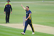 Kyle Abbott of Hampshire celebrating the wicket of Dawid Malan during the Royal London One Day Cup match between Hampshire County Cricket Club and Middlesex County Cricket Club at the Ageas Bowl, Southampton, United Kingdom on 23 April 2019.