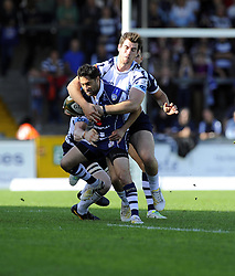Bristol Rugby's Marco Mama is tackled - Photo mandatory by-line: Joe Meredith/JMP - Tel: Mobile: 07966 386802 06/10/2013 - SPORT - FOOTBALL - RUGBY UNION - Memorial Stadium - Bristol - Bristol Rugby V Bedford Blues - The Championship