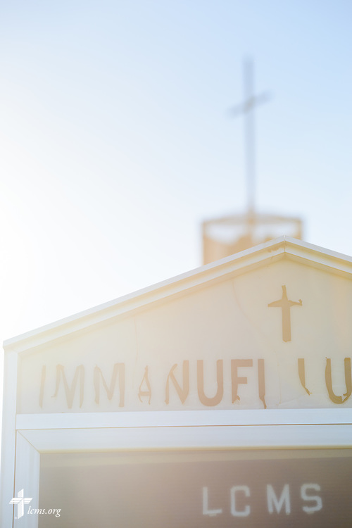 Exterior photograph of the welcome sign for Immanuel Lutheran Church, Livermore, Iowa, on Sunday, July 9, 2017. LCMS Communications/Erik M. Lunsford