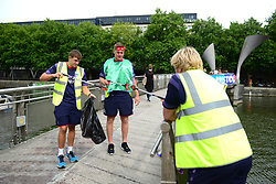 Joe Batley of Bristol Rugby supports Bristol City Council's Clean Streets campaign on Mandela Day by helping cleaning the streets at Millennium Square - Mandatory by-line: Dougie Allward/JMP - 18/07/2017 - FOOTBALL - Millennium Square - Bristol, England - Mandella Day Bristol Rugby
