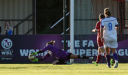 Bristol Academy's Mary Earps makes a save - Mandatory by-line: Paul Knight/JMP - Mobile: 07966 386802 - 27/08/2015 -  FOOTBALL - Stoke Gifford Stadium - Bristol, England -  Bristol Academy Women v Oxford United Women - FA WSL Continental Tyres Cup