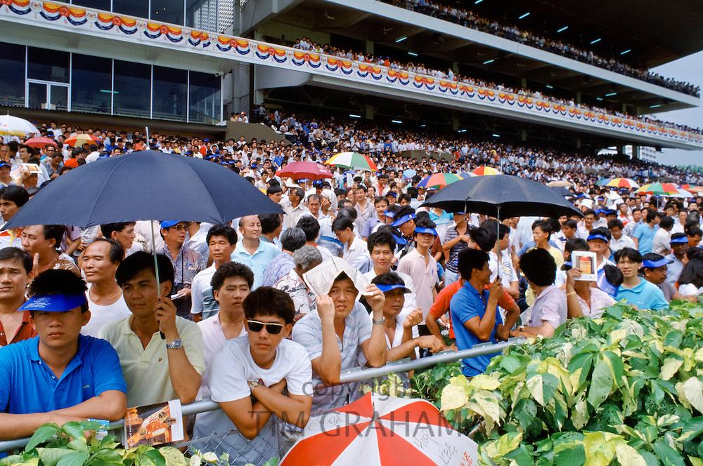 Racegoers at the racecourse in Hong Kong, China