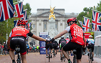 Riders at the finish of their sportives show their emotions. The Prudential RideLondon Sportives. Sunday 29th July 2018<br /> <br /> Photo: Andrew Baker for Prudential RideLondon<br /> <br /> Prudential RideLondon is the world's greatest festival of cycling, involving 100,000+ cyclists - from Olympic champions to a free family fun ride - riding in events over closed roads in London and Surrey over the weekend of 28th and 29th July 2018<br /> <br /> See www.PrudentialRideLondon.co.uk for more.<br /> <br /> For further information: media@londonmarathonevents.co.uk