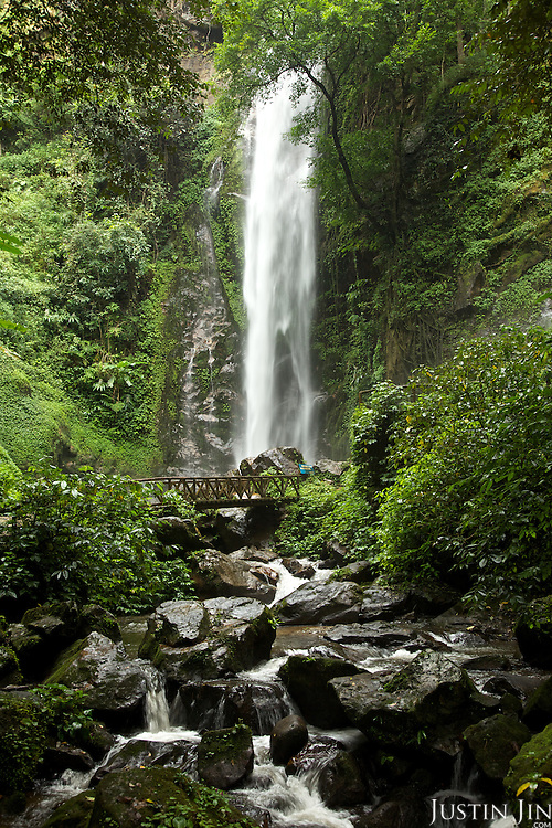 A waterfall at the rainforest park outside Ruili town, Yunnan province, southwestern China.
