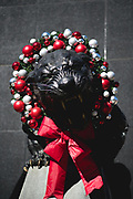 December 23, 2018. Panthers vs Falcons. Christmas themed statue of a Panther