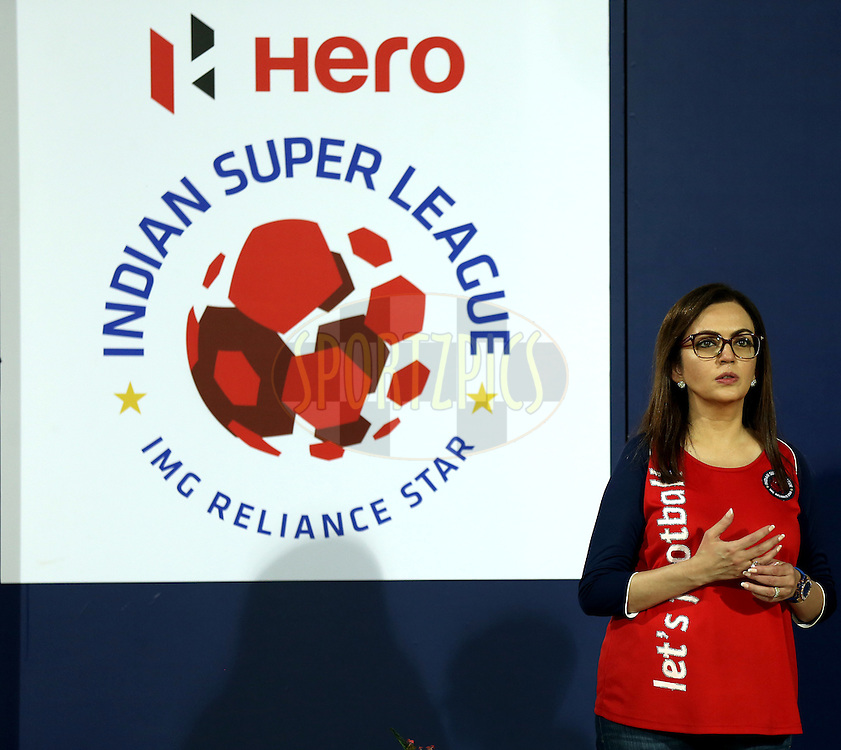 Nita Ambani owner of Hero Indian Super League during match 6 of the Hero Indian Super League between Mumbai City FC and FC Pune City held at the D.Y. Patil Stadium, Navi Mumbai, India on the 18th October 2014.<br /> <br /> Photo by:  Sandeep Shetty/ ISL/ SPORTZPICS