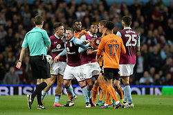 Wolverhampton Wanderers and Aston Villa players clash after Conor Coady of Wolverhampton Wanderers challenges Jack Grealish of Aston Villa - Mandatory by-line: Dougie Allward/JMP - 15/10/2016 - FOOTBALL - Villa Park - Birmingham, England - Aston Villa v Wolverhampton Wanderers - Sky Bet Championship