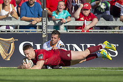 September 1, 2018 - Limerick, Ireland - Rory Scannell of Munster scores a try during the Guinness PRO14 rugby match between Munster Rugby and Toyota Cheetahs at Thomond Park Stadium in Limerick, Ireland on September 1, 2018  (Credit Image: © Andrew Surma/NurPhoto/ZUMA Press)