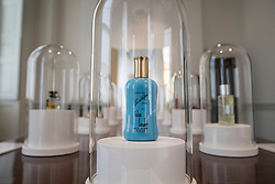 © Licensed to London News Pictures. 20/06/2017. London, UK. Vintage bottle of perfume are displayed at the 'Perfume: A Sensory Journey through Contemporary Scent' exhibition at Somerset House in London. In association with Coty, Peroni Ambra, Givaudan and Liberty London, the show opens on June 20, 2017 and runs until September 17, 2017. The exhibition explores the evolution of today's scent scene, by showcasing the work of ten perfume pioneers from the past two decades. Each perfume is experienced through a multisensory installation, which is designed in reference to the inspiration behind the scent itself. In addition, it features a working perfume laboratory stocked with over 200 ingredients. Visitors will be able to interact with and get instruction from professionals, seeing up close the skill and science of the perfumer. Photo credit: Peter Macdiarmid/LNP