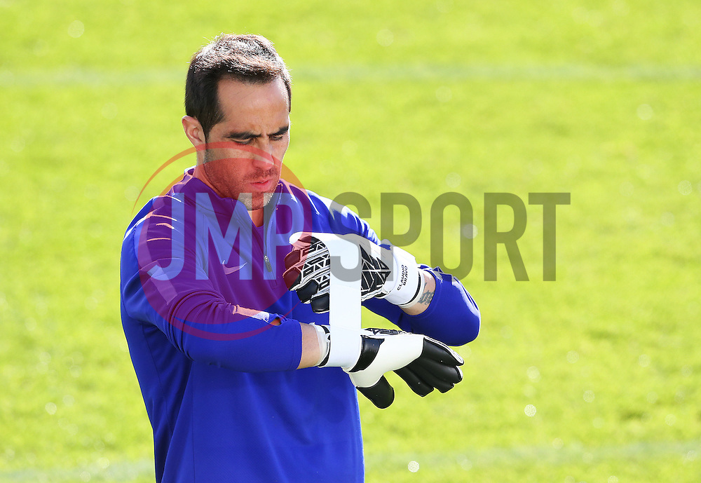 Manchester City goalkeeper Claudio Bravo tapes up his gloves - Mandatory by-line: Matt McNulty/JMP - 18/10/2016 - FOOTBALL - Manchester City - Training session ahead of Champions League qualifier against FC Barcelona