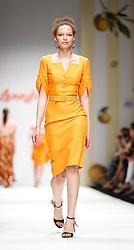 July 3, 2018 - Berlin, Germany - A model presents a Spring/Summer 2019 Tutti Frutti - Lena Hoschek collection during the first day of MBFW Berlin Fashion Weak in the ewerk showspace in Berlin, Germany on July 3, 2018. (Credit Image: © Dominika Zarzycka/NurPhoto via ZUMA Press)
