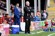 Walsall manager Jon Whitney gives instructions 0-1 during the EFL Sky Bet League 1 match between Walsall and Southend United at the Banks's Stadium, Walsall, England on 28 October 2017. Photo by Alan Franklin.