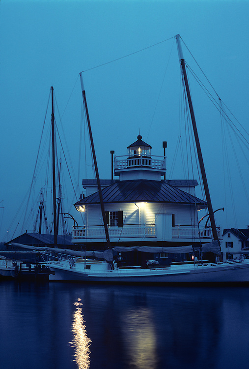 USA, Maryland, Saint Michaels, Hooper Strait Lighthouse now houses Chesapeake Bay Maritime Museum
