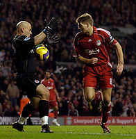 Photo: Jed Wee.<br />Liverpool v Reading. The Barclays Premiership. 04/11/2006.<br /><br />Liverpool's Steven Gerrard (R) is denied a goal by Reading goalkeeper Marcus Hahnemann.