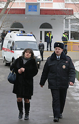 61009837<br /> Anna Usachyova, head of the information and regional policy at Russia s education and science ministry, arrives at a school in northeast Moscow, where a high-school student took fellow pupils hostage and shot a teacher and a police officer dead. The teenager has been detained, Moscow, Russia, Monday, 3rd February 2014. Picture by  imago / i-Images<br /> UK ONLY