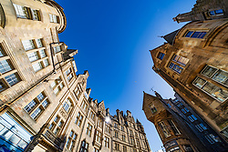 Wide angle view of historic buildings on Cockburn Street in Edinburgh New Town, Scotland, UK