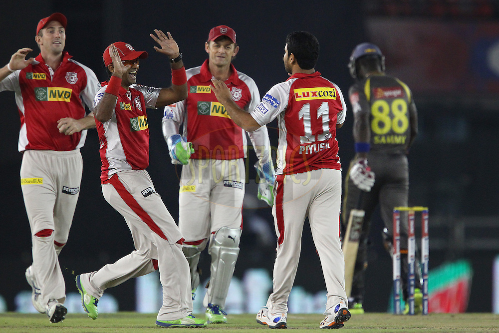 Piyush Chawla celebrates the wicket of Darren Sammy during match 59 of of the Pepsi Indian Premier League between The Kings XI Punjab and the Sunrisers Hyderabad held at the PCA Stadium, Mohal, India  on the 11th May 2013..Photo by Ron Gaunt-IPL-SPORTZPICS ..Use of this image is subject to the terms and conditions as outlined by the BCCI. These terms can be found by following this link:..http://www.sportzpics.co.za/image/I0000SoRagM2cIEc