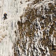 "Róbert Halldórsson climbing the ""Bjarta hlíðin"" WI6 at Eyjafjöllum, southcoast Iceland."
