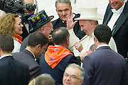Vatican City jun 16th 2016, pope attends to a meeting with the participants in the Jubilee of the World of Travelling Shows at Paul VI audience hall . In the picture Pope Francis receives a magician cylinder and a magic wand by  the priest Silvio Mantelli, as known as Mago Sales - © PIERPAOLO SCAVUZZO