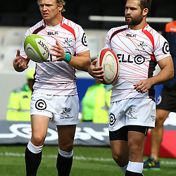 DURBAN, SOUTH AFRICA - SEPTEMBER 05: Joe Pietersen with  Cobus Reinach of the Cell C Sharks during the Absa Currie Cup match between Cell C Sharks and Steval Pumas at Growthpoint Kings Park on September 05, 2015 in Durban, South Africa. (Photo by Steve Haag/Gallo Images)