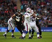 Buffalo Bills EJ Manuel throwing the ball during the Buffalo Bills v Jacksonville Jaguars NFL International Series match at Wembley Stadium, London, England on 25 October 2015. Photo by Matthew Redman.