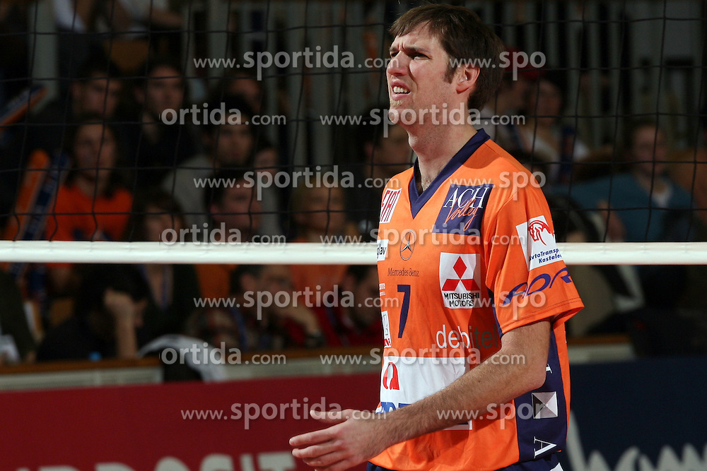 Scott Touzinsky  of ACH Volley, Slovenia at Indesit European Champions League match between ACH Volley from Bled, Slovenia and Dinamo Moscow, Russia at the Hala Tivoli on January 23, 2008 in Ljubljana, Slovenia. ACH Volley : Dinamo Moscow 0:3. (Photo by Vid Ponikvar / Sportida)