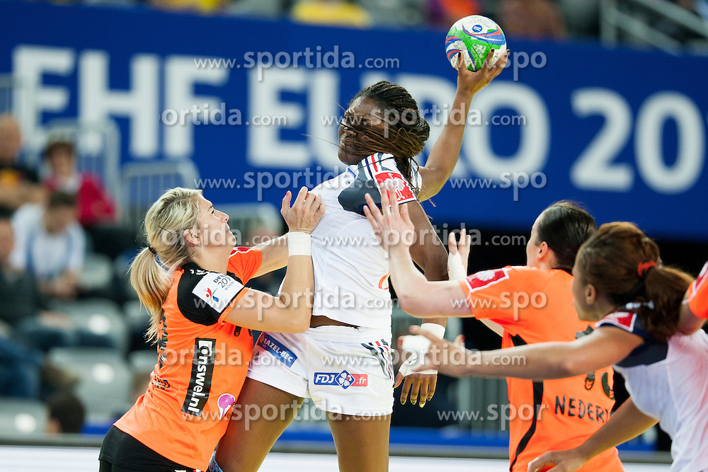 Grece Zaadi #10 of France at handball match between Netherlands and France at 11th EHF European Women's Handball Championship Hungary-Croatia 2014, on December 17, 2014 in Arena Zagreb, Zagreb, Croatia. Photo By Urban Urbanc / Sportida