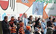 FODBOLD: FC Helsingør fans under kampen i Bet25 Ligaen mellem FC Roskilde og FC Helsingør den 24. marts 2016 i Roskilde Idrætspark. Foto: Claus Birch