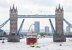 © Licensed to London News Pictures. 15/06/2016. London, UK. Activists with an 'IN' flag float in front of a flotilla of fishing trawlers, joined by UKIP leader Nigel Farage, as they sail up the River Thames to Westminster. The flotilla is organised by the 'Fishing for Leave' campaign, founded by Scottish fisherman, which argues that the UK's fishing industry would be better off outside the EU, but with the same status as Iceland or Norway when fishing quotas are negotiated. Photo credit: Rob Pinney/LNP